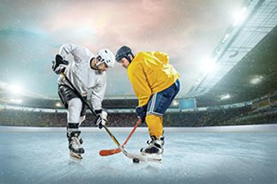 Hockey Players Facing Off